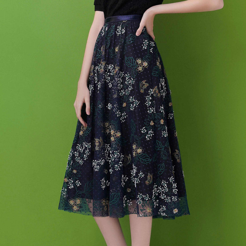 Floral-embroidered polk-dot tulle skirt