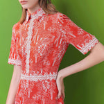 Lace-embroidered mixed linen dress