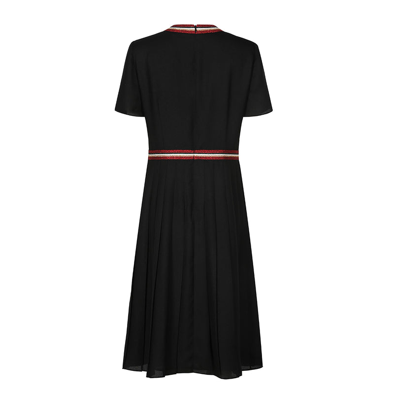 Trendy grosgrain-trimmed crepe dress