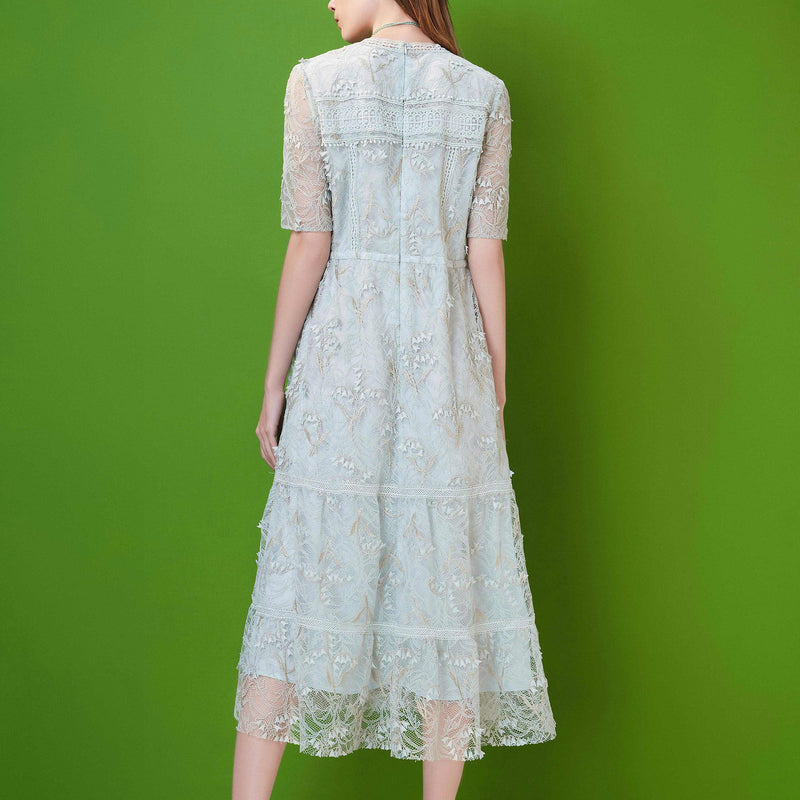 Floral-embroidered lace dress