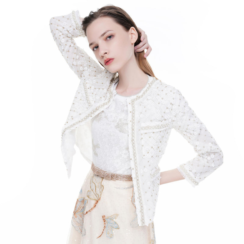 Quilted tulle floral applique jacket