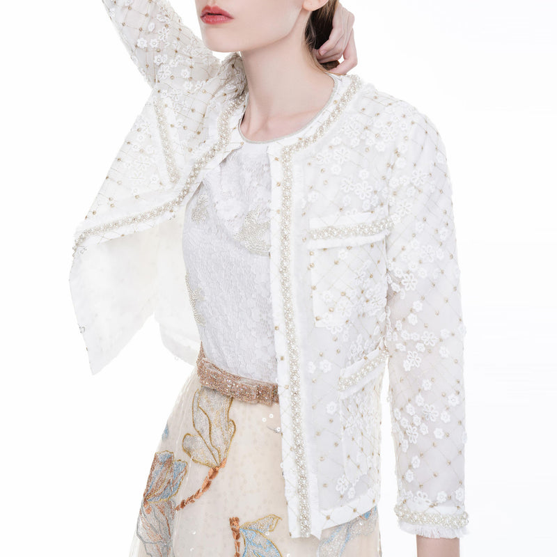 Romantic pearl-embellished tulle blouse