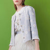 Daisy-embroidered tweed jacket