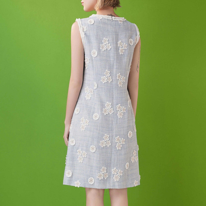 Daisy-embroidered retro tweed dress