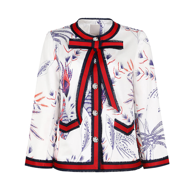Pussy-bow floral-printed satin jacket
