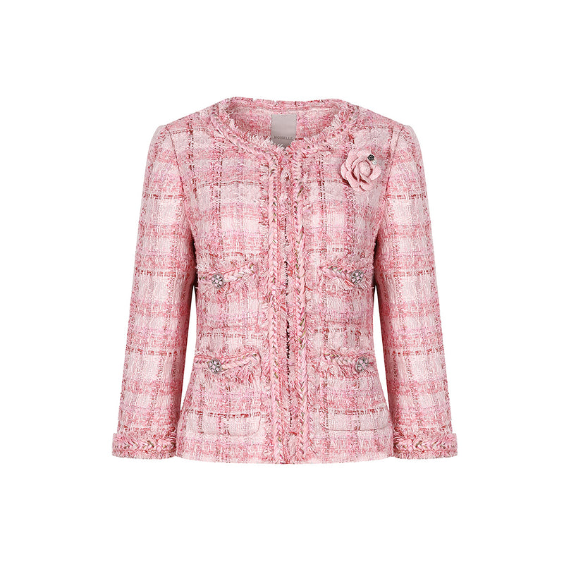 elegant  pink textured tweed jacket