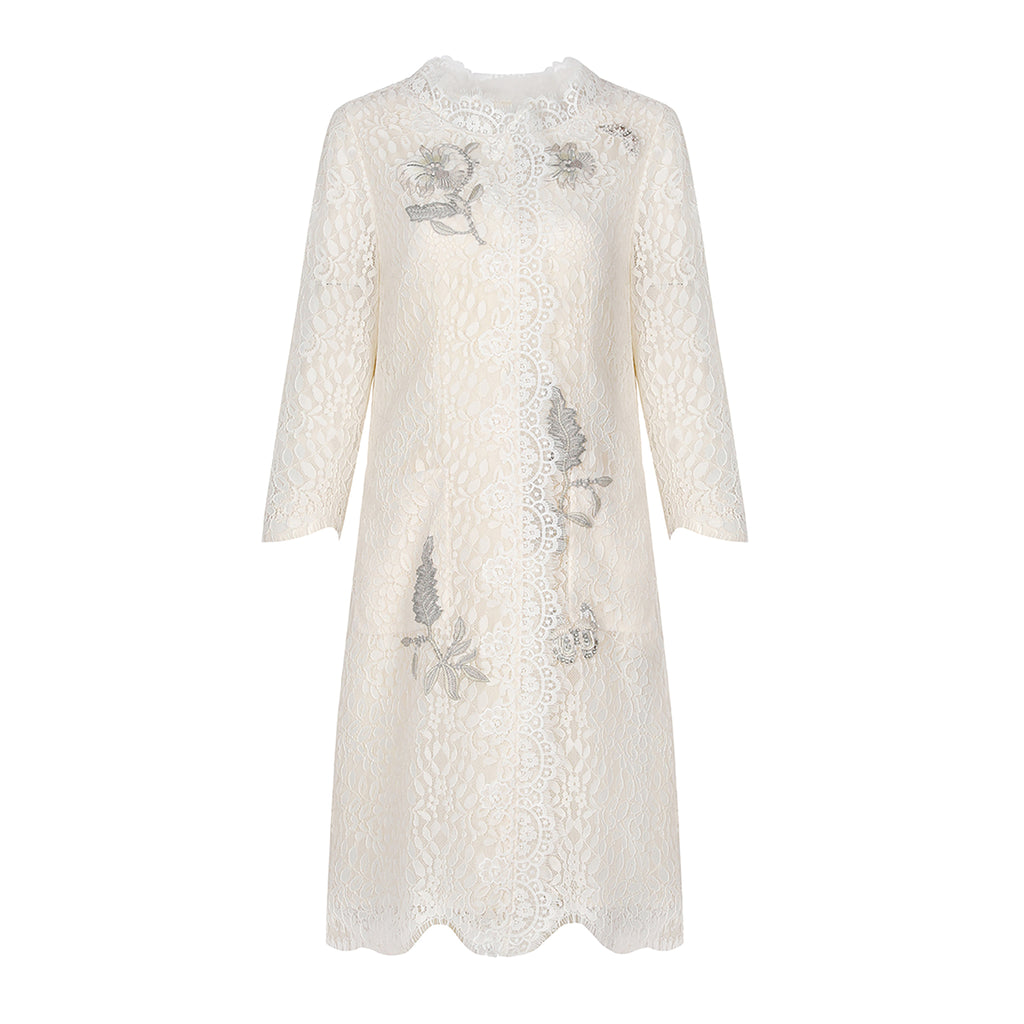 Iris-embroidered mid-length lace coat