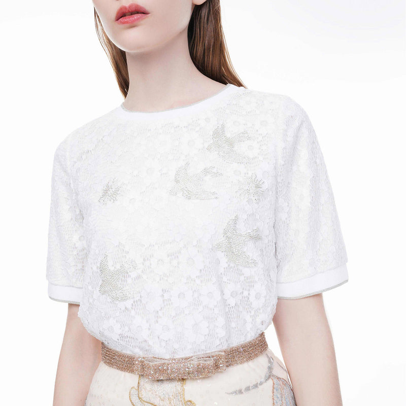 Glittered swallow beaded lace blouse