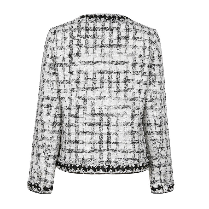 Pearl-embellished tweed jacket