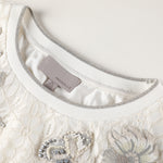 Floral- embroidered white lace blouse
