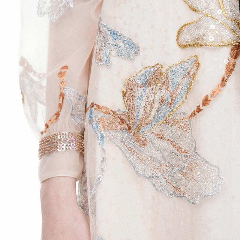 Exquisite floral-embroidered blouse