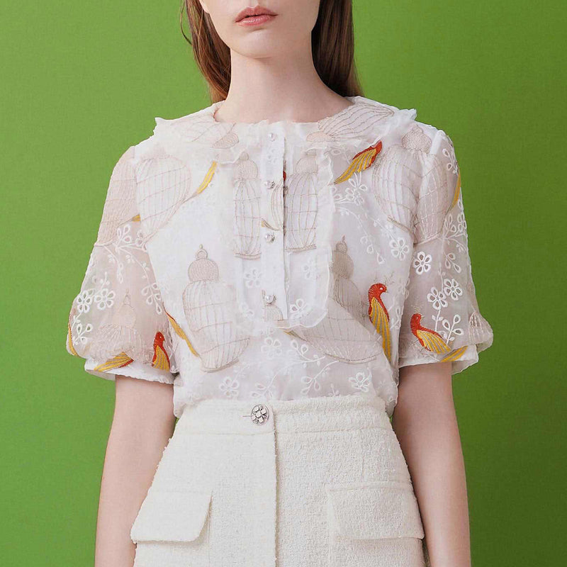 Bird embroidered organza blouse