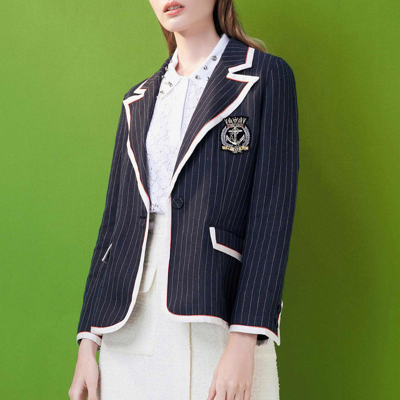 Navy pinstriped slim-cut linen blazer