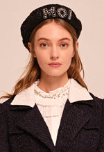"Crystal embroidered ""Moi"" tweed beret hat"