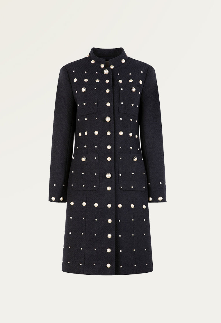 Chinese stand collar tweed coat