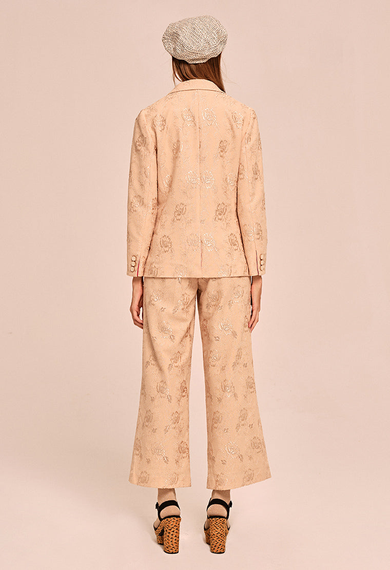 Embroidered jacquard wide-leg pants