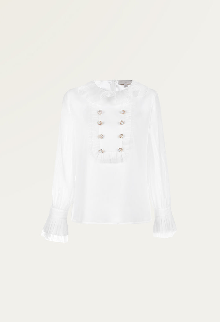 Palace ruffled collar chiffon shirt