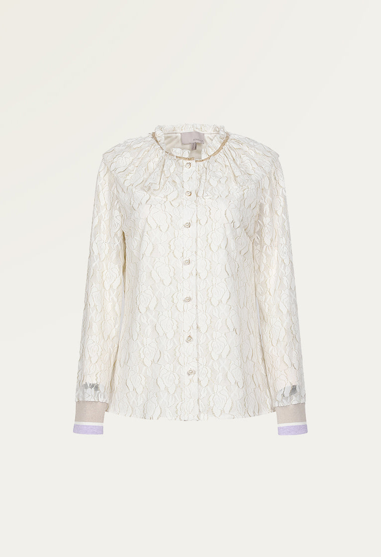 Luxurious ruffle collar lace shirt