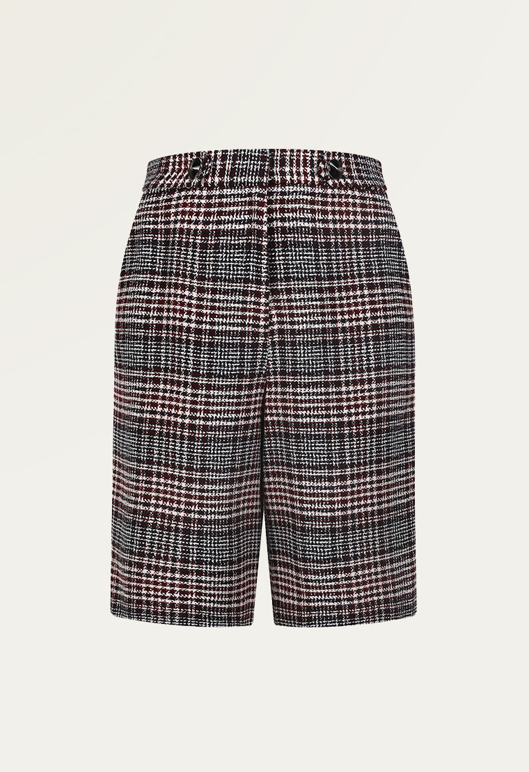 British style tweed knee-length pants