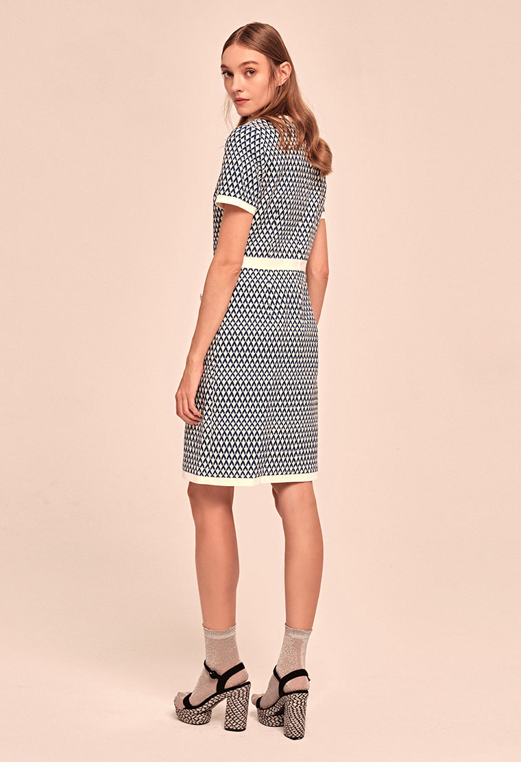 Mix Blue textured jacquard dress