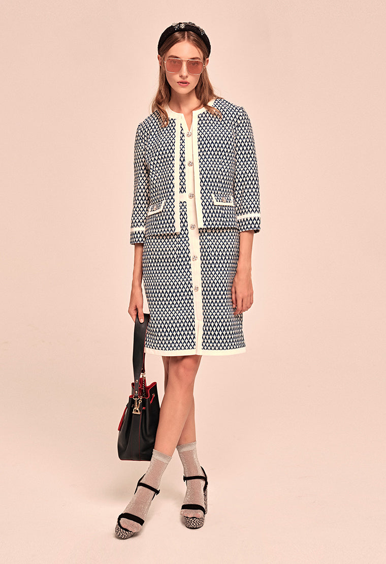 Elegant textured jacquard dress