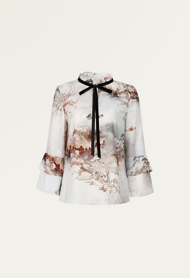 French landscape print satin shirt