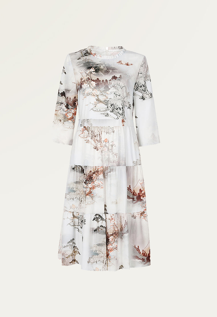 Printed pattern mid-sleeve satin tiered dress