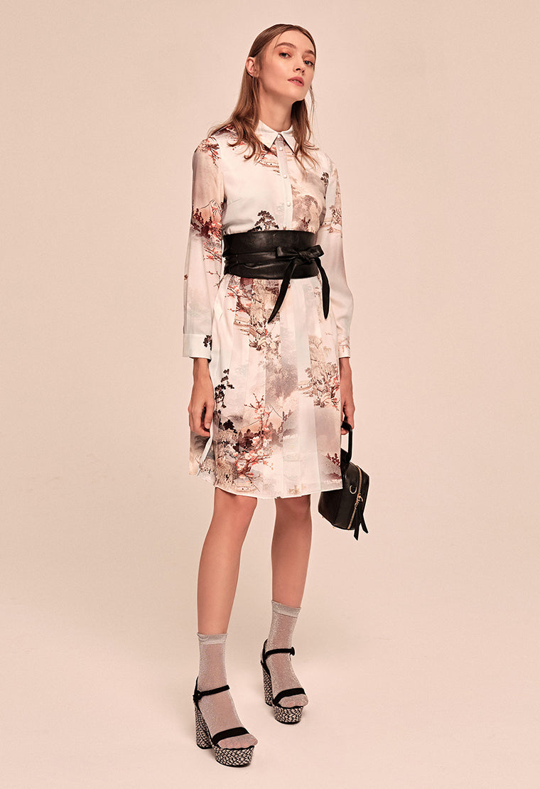 Printed pattern satin tiered dress with shirt collar