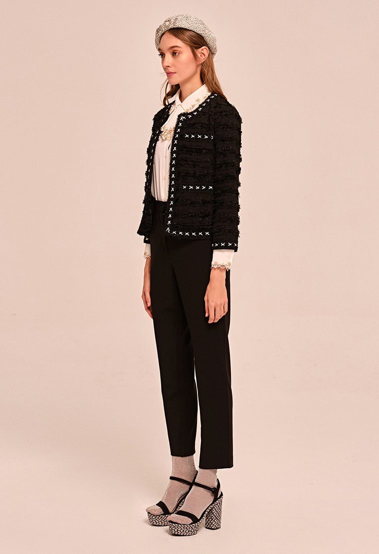 Round-neck Jacquard jacket