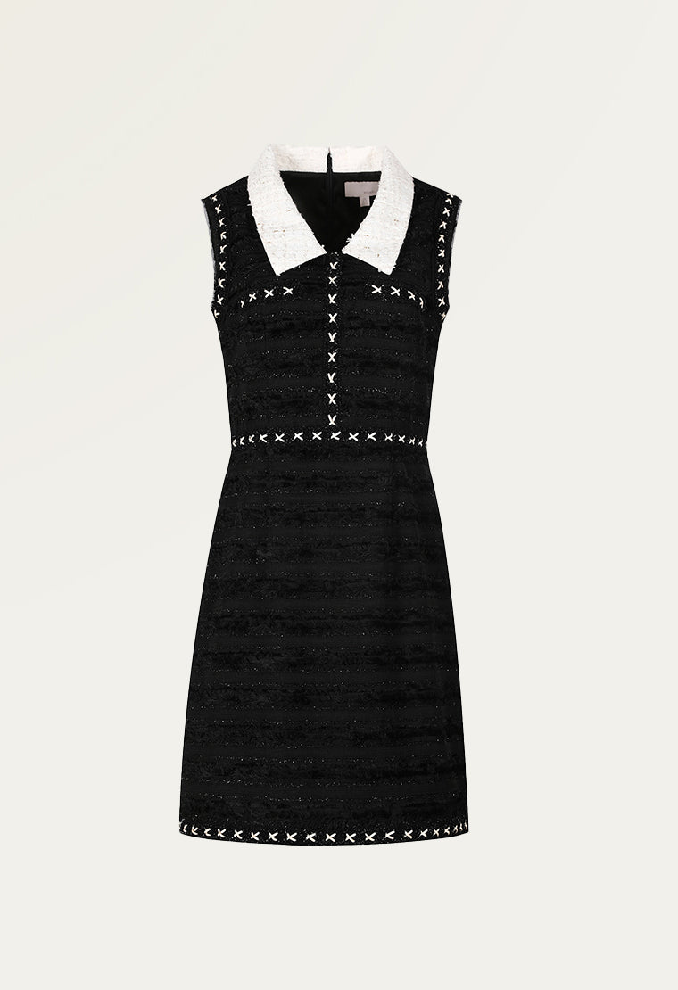 Eton collar jacquarded dress