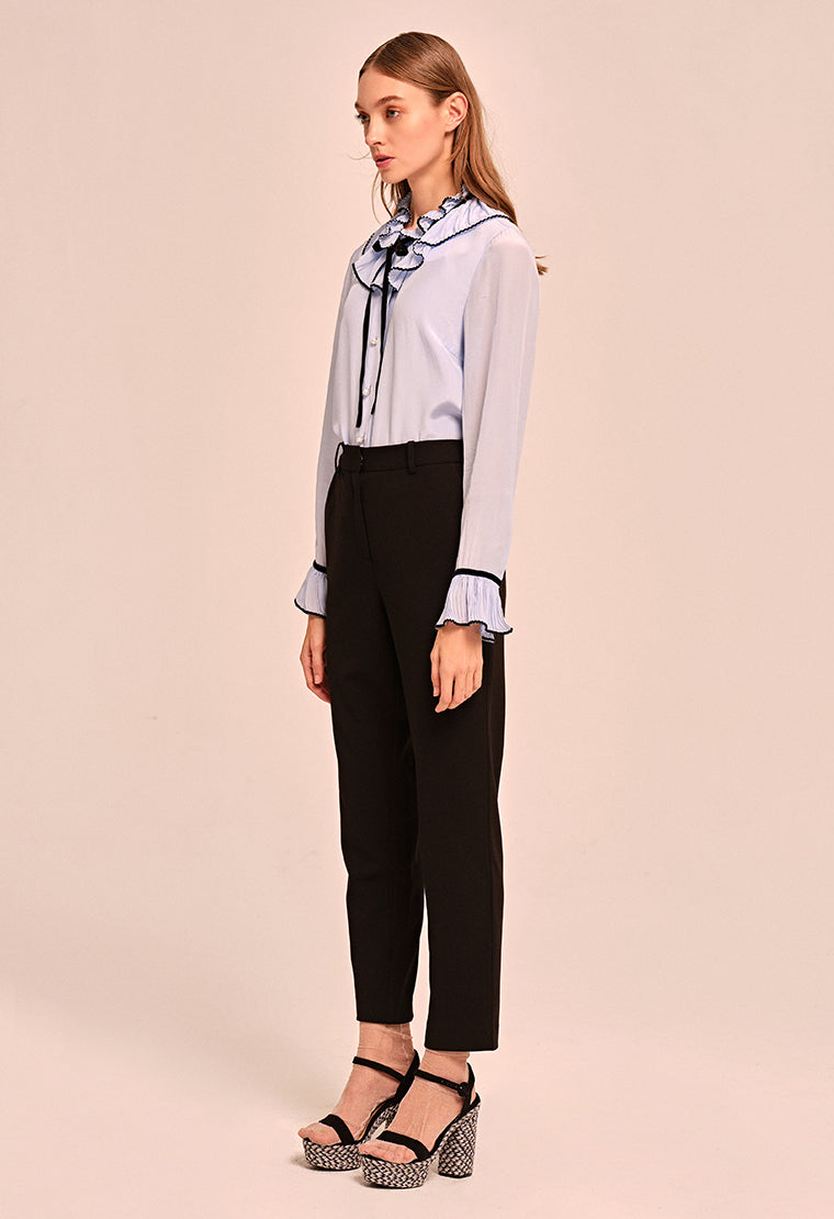 Lotus leaf collar chiffon shirt