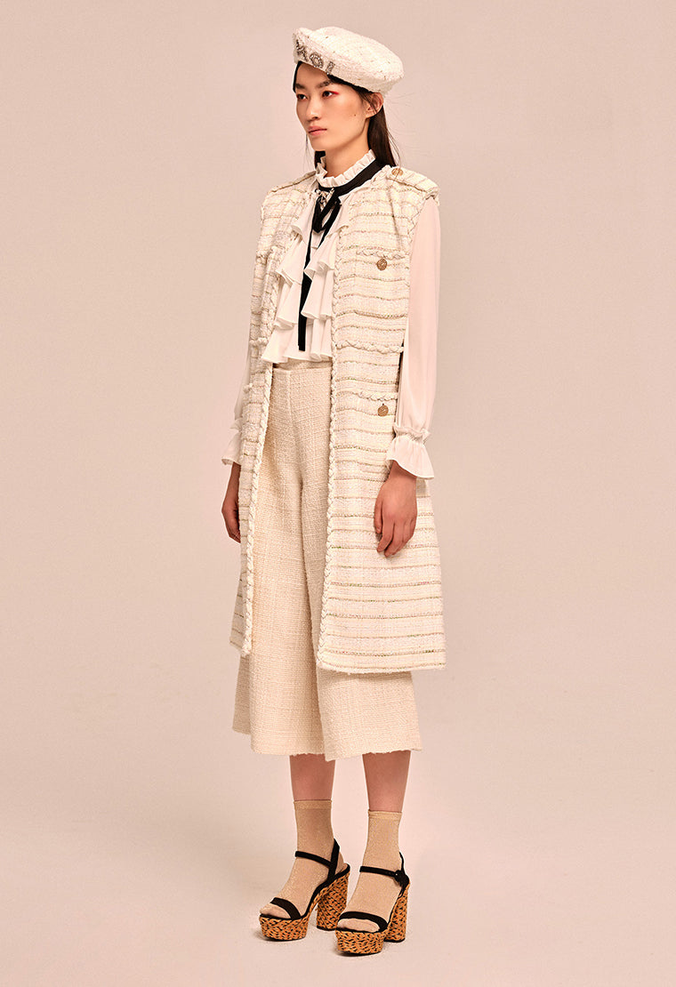 Classic striped tweed vest coat