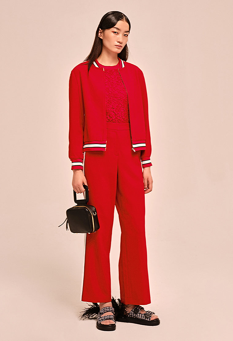 Relaxed slim-leg red pants