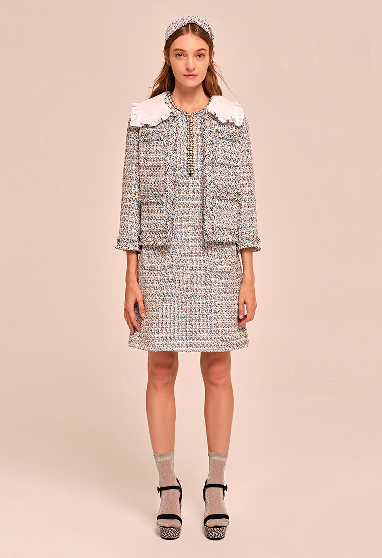 Laced pilgrim collar tweed jacket