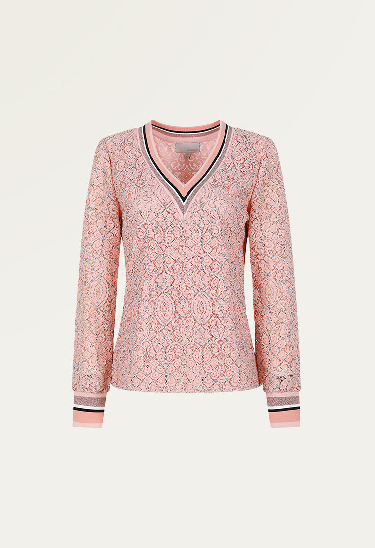 V-neck pink lace blouse