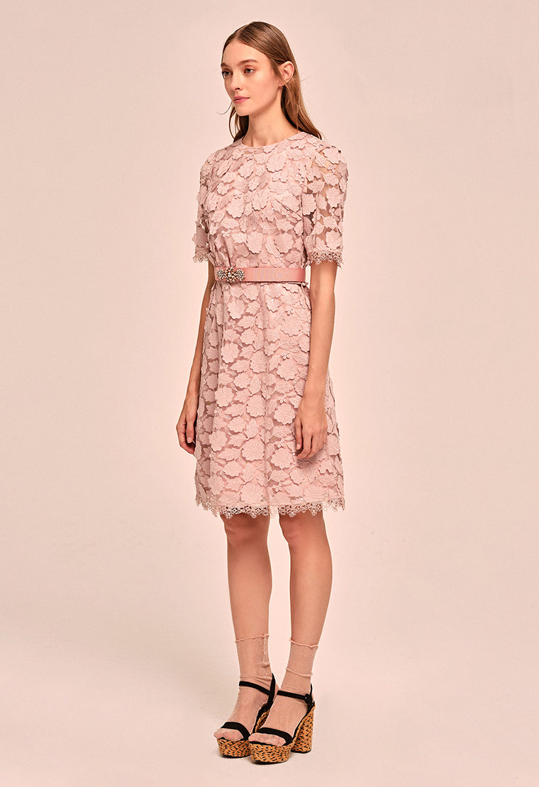 Floral-embroidered pastel lace dress