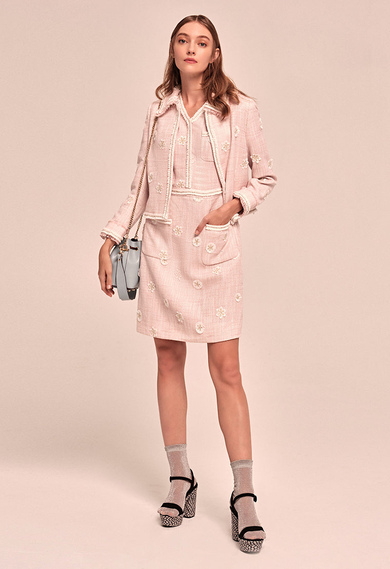 Pink flower-embroidered tweed coat