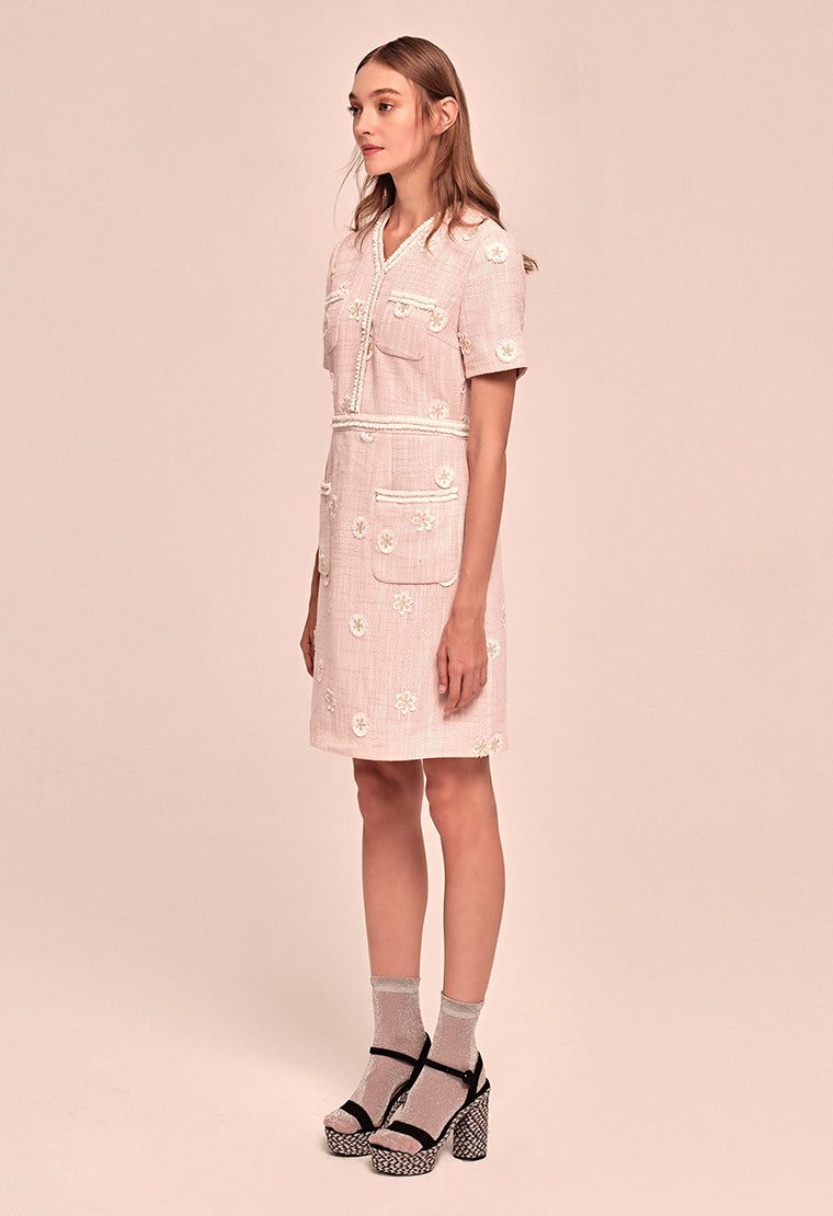 Daisy-embroidered tweed dress