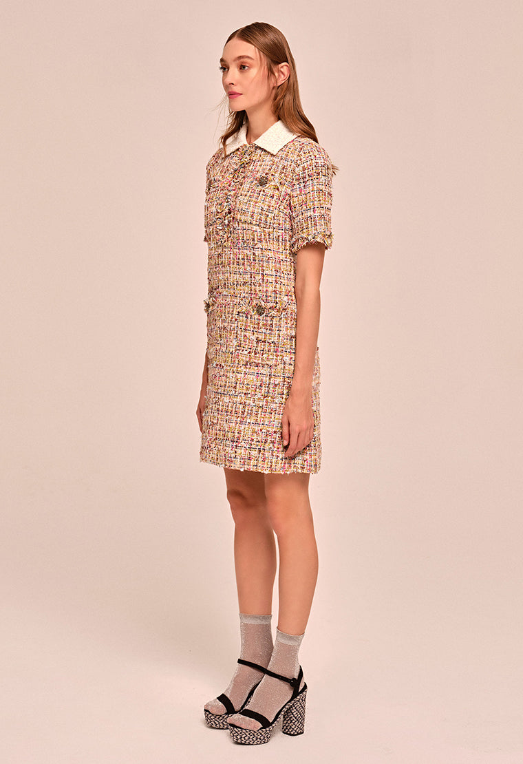 Classic Eton collar tweed dress