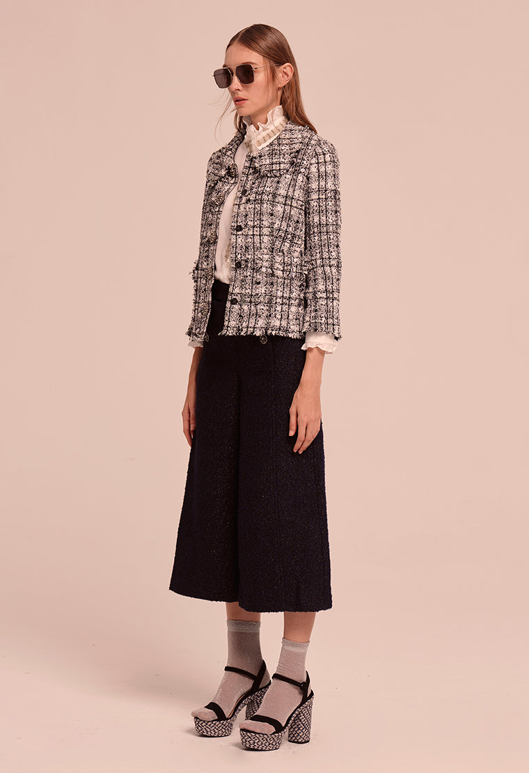 Peter Pan collar tweed jacket