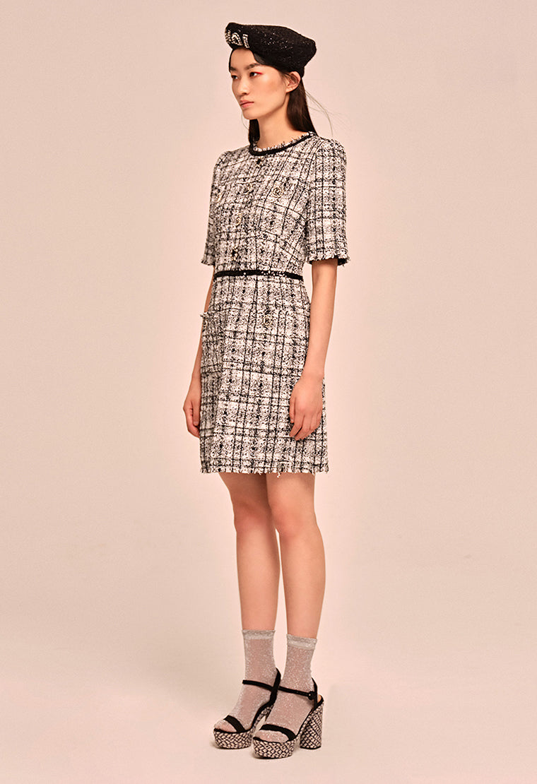 Noble black & white plaid tweed dress