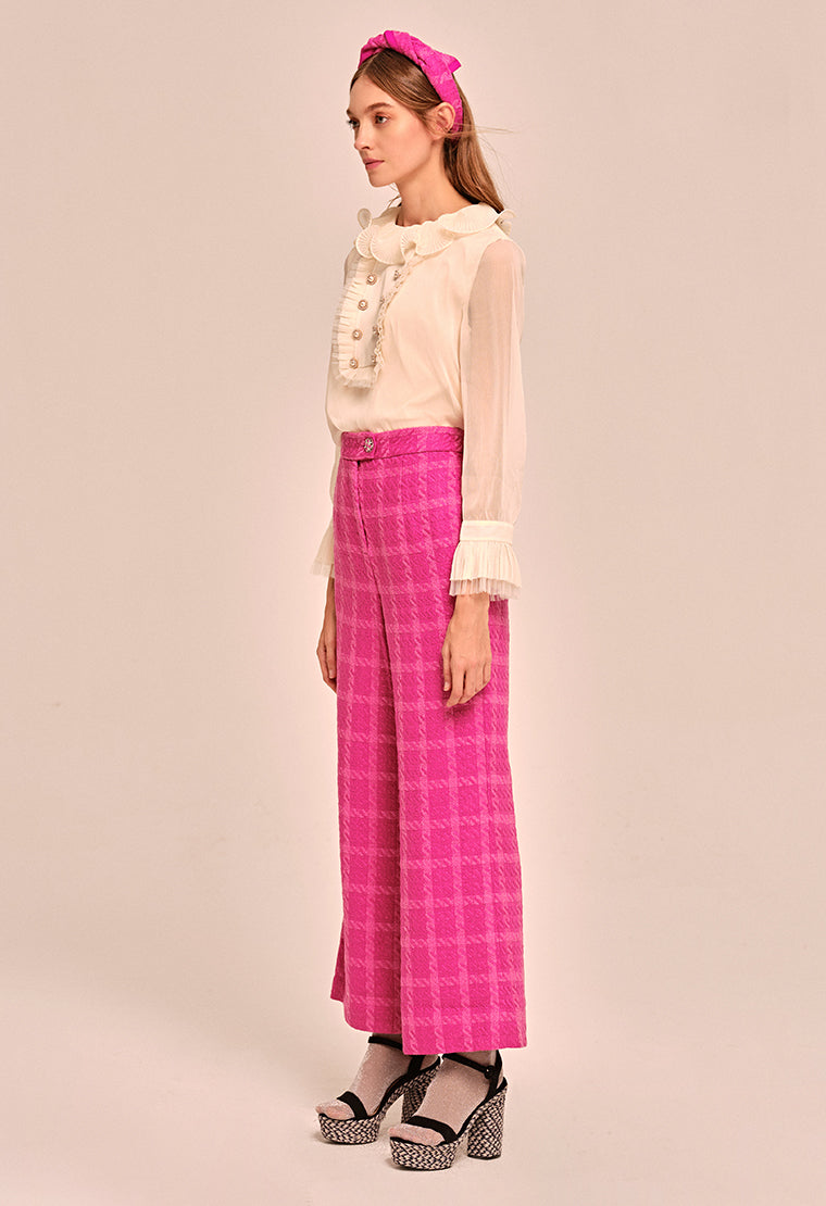 Eye-catching jacquard wide leg pants