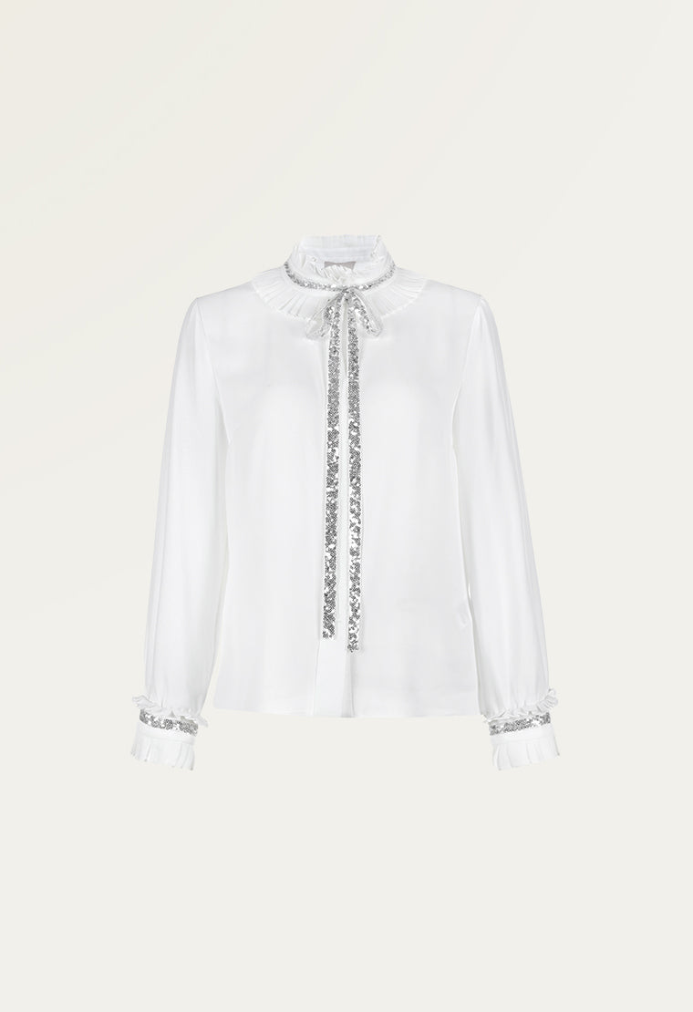 High neck chiffon shirt with glittering sequin bow