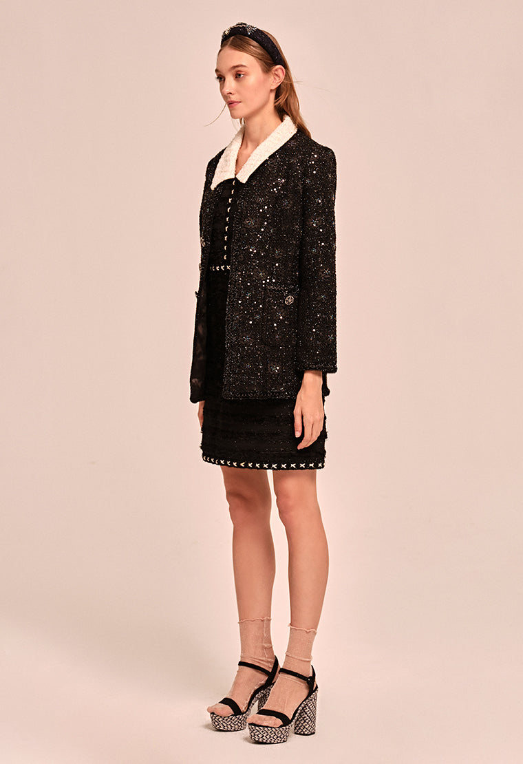 Flower-embroidered Mandarin collar tweed jacket