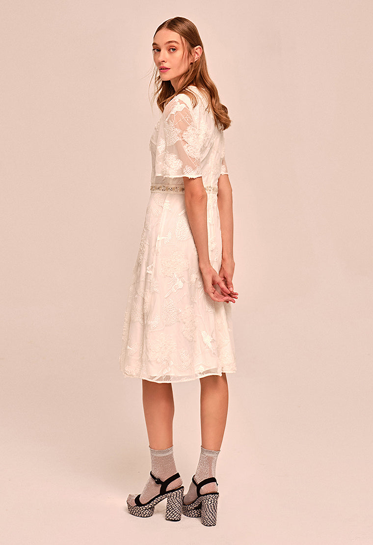Elegant hollow belt chiffon dress