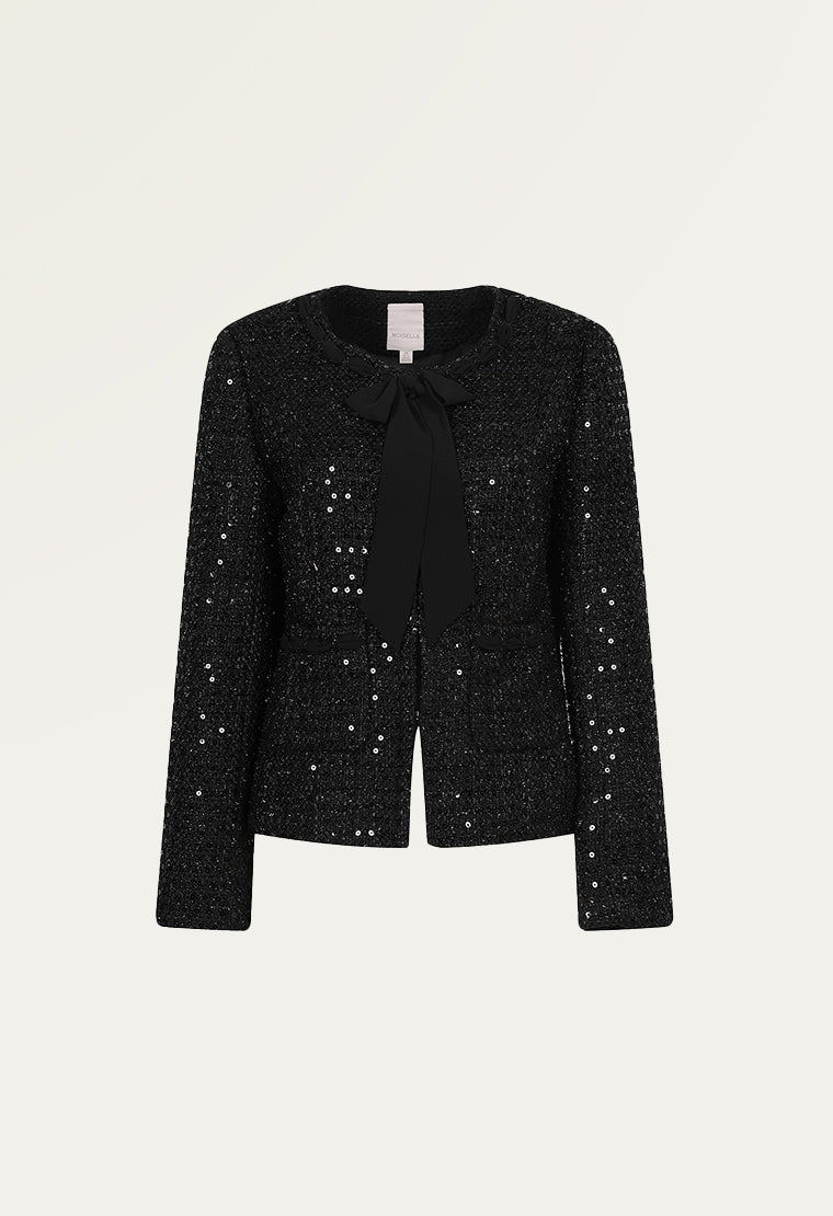 Glitter patches tweed jacket
