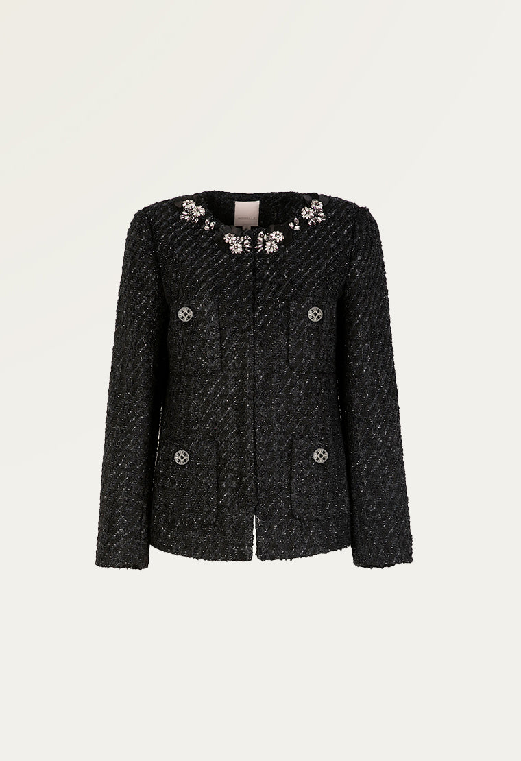 Glitter tweed short jacket