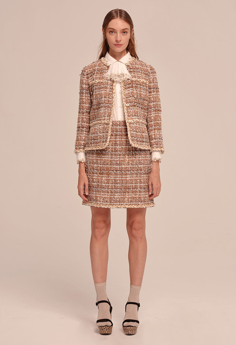 Classic elegant plaid tweed jacket