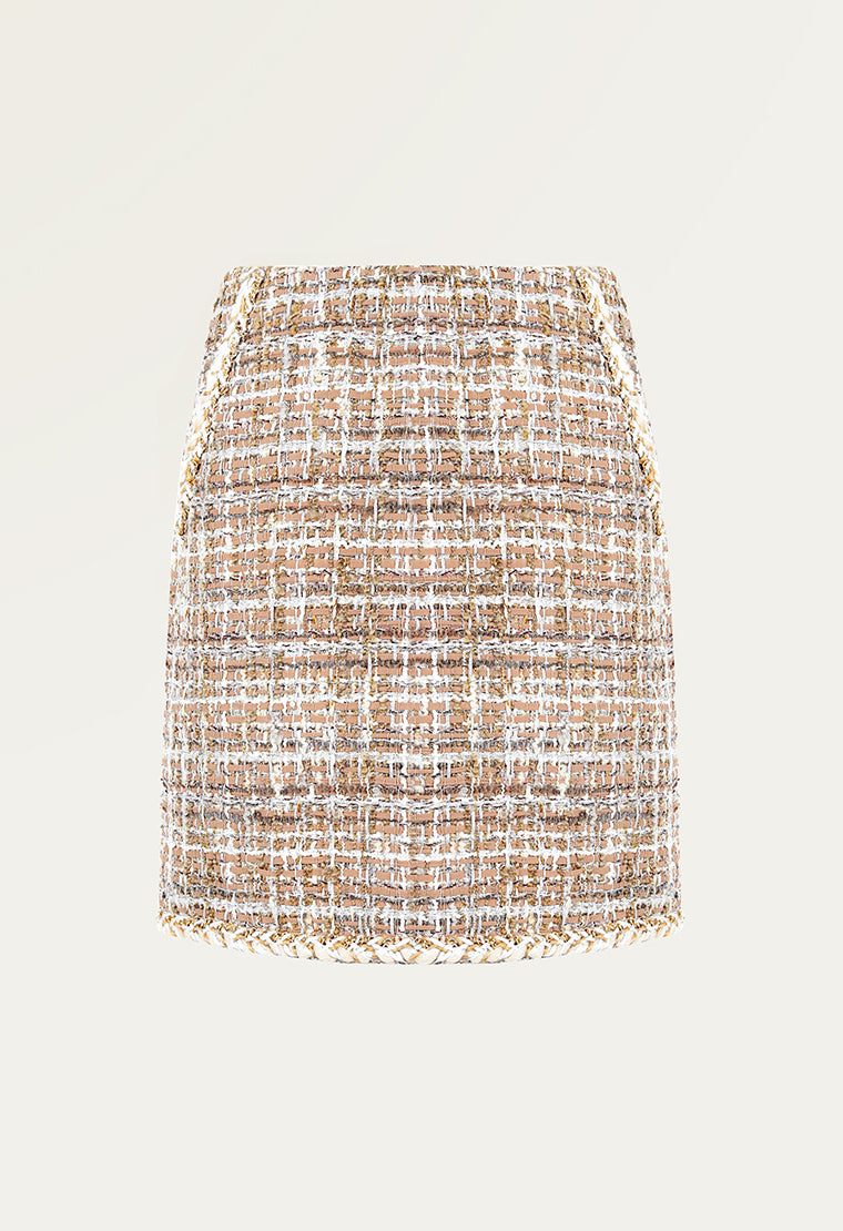 Classic elegant plaid tweed skirt