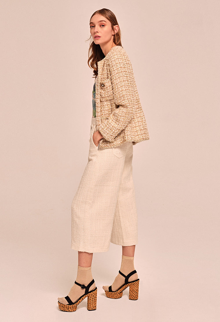 Classic beige tweed jacket